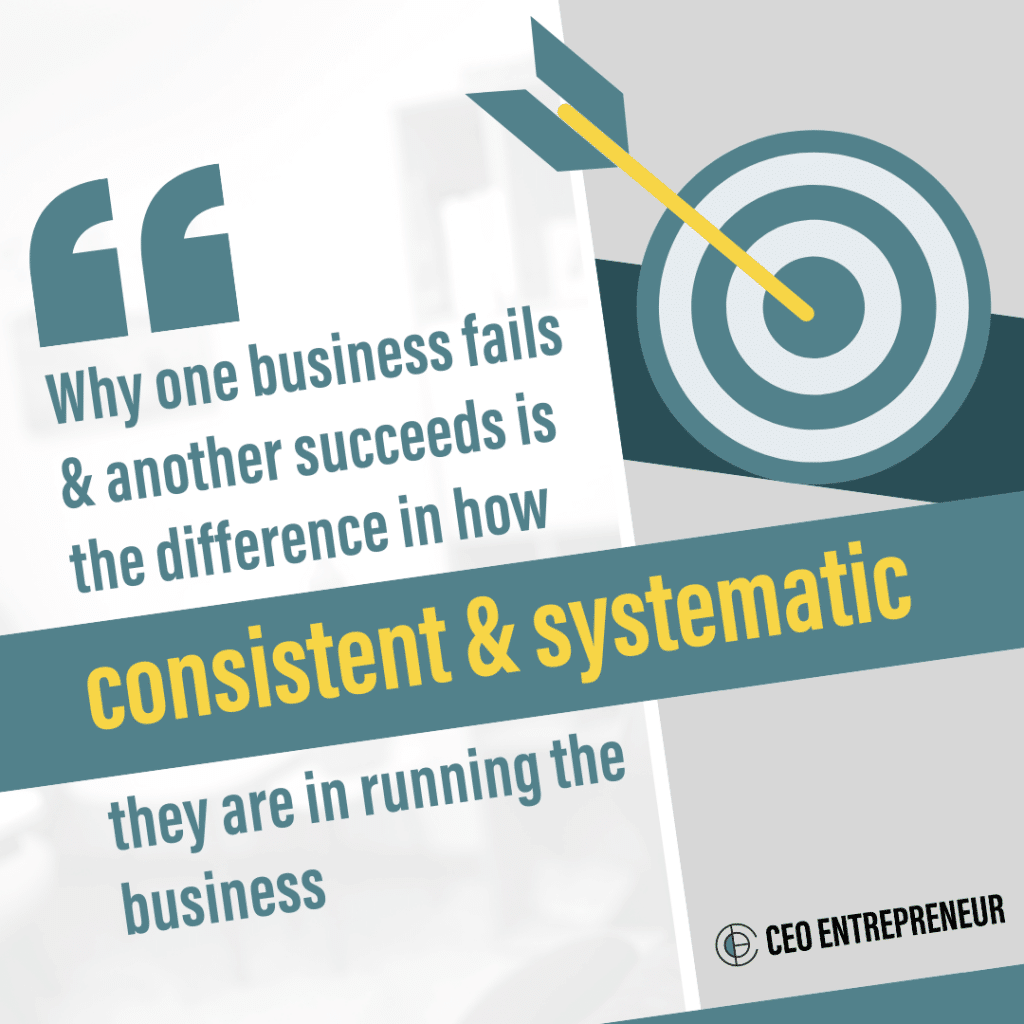 Why one business fails & another succeeds is the difference in how consistent & systematic they are in running the business