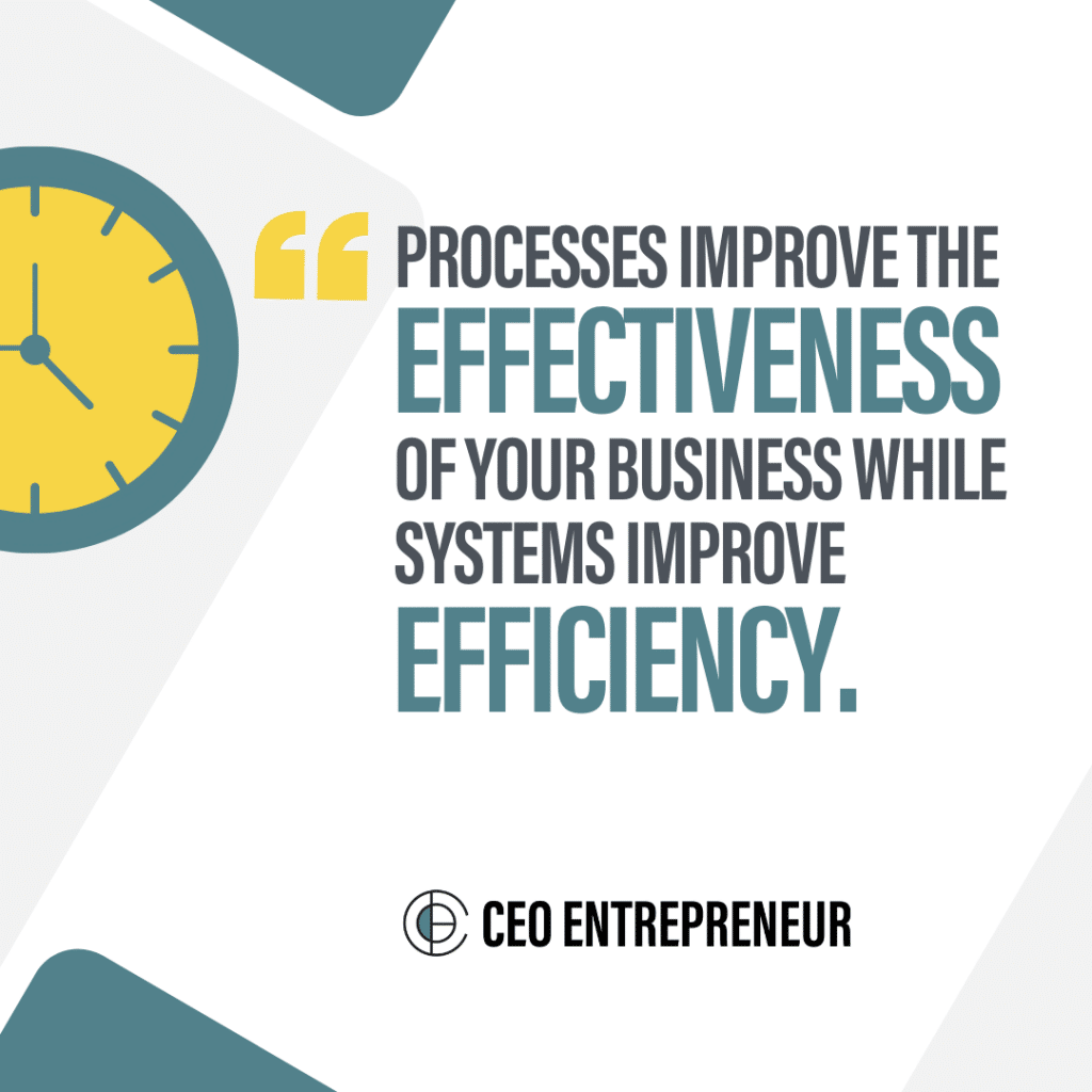 Processes improve the effectiveness of your business while systems improve efficiency
